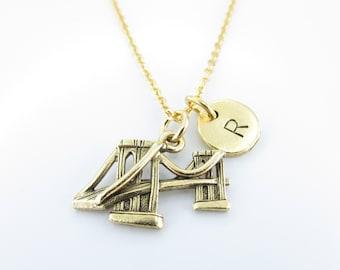 Brooklyn Bridge Necklace, Brooklyn Bridge Charm, Antique Gold, Brooklyn New York Necklace, Initial Necklace, Monogram Letter Z232