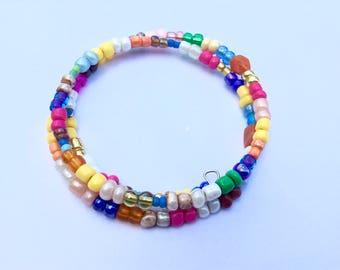 Wrap bracelet, beaded bracelet, rainbow beads, multicolor bracelet, stacking bracelet set, memory wire wrap bracelet, glass beads.