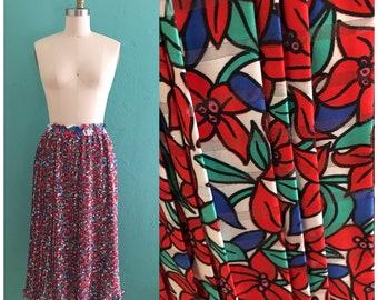 vintage 80's red floral plisse skirt // spring diane freis skirt