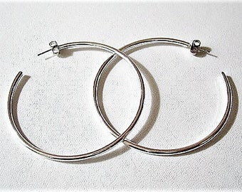 """Open End 2 5/8"""" Hoops Pierced Post Stud Earrings Silver Tone Vintage Avon Extra Large Big Round Extra Thin Tube Dangles"""