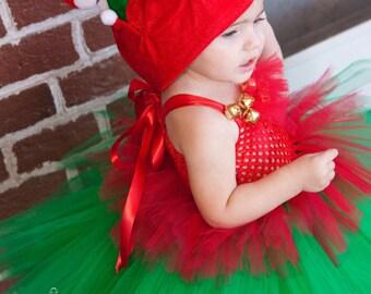 CHRISTMAS Elf Costume - Elf Tutu Dress - Tutu with Elf Hat - Girls Costume - Holiday Photo prop - shelf Elf -  Holiday Pageant