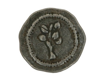 3 Rustic Tree 3/4 inch ( 20 mm ) Metal Buttons Antique Tin Color