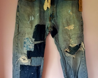 Upcycled Levis Vintage Shabby Rustic Patched, Distressed Denim Destroyed Slouchy Artsy Folk Repaired Jeans