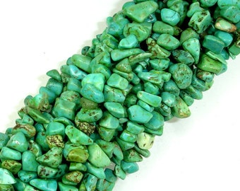 Turquoise Howlite, 4mm - 9mm Chips Beads, 34 Inch, Long full strand, Hole 0.8 mm (214005001)