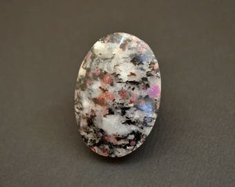 Garnet on matrix natural stone cabochon  37 x 26 x 5 mm