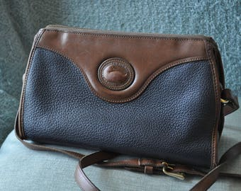 Dooney and Bourke Navy Blue and Brown Leather Purse