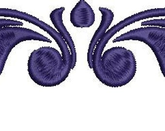 Machine Embroidery Flourish Design 5in