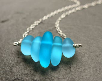 Sea glass necklace, sterling silver, turquoise blue, cultured sea glass jewelry, beach glass, something blue, natural jewelry, gift for her