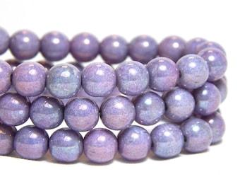 6mm Luster Purple Beads, Purple Beads, Lilac Beads, 6mm Purple Beads, Purple Round Beads, Shiny Purple Beads, Purple Glass Beads, T-21D