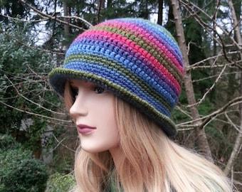 Red Purple Lilac Green Blue Cloche Hat. Women Hat. Hand Crocheted 1920s Style Cloche Hat. Winter Hat. Crochet Bucket Hat. Vegan Friendly