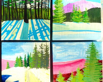 Four paintings together, Trees, ORIGINAL PAINTINGS, art landscape, acrylic painting, painting of trees, mountain painting,  6x6x1.5 inches