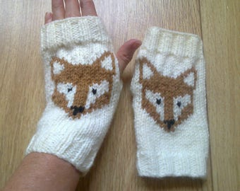 Wrist warmers - fox - fingerless gloves