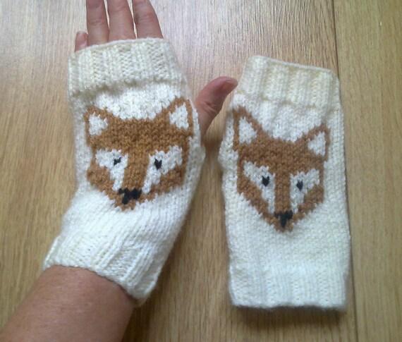 Crochet Gloves With Finger Holes >> Wrist warmers fox fingerless gloves