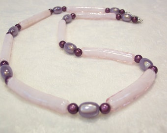 Pink Necklace, Purple Necklace, Pink and Purple Necklace, Glass Noodle Necklace, Free US Shipping
