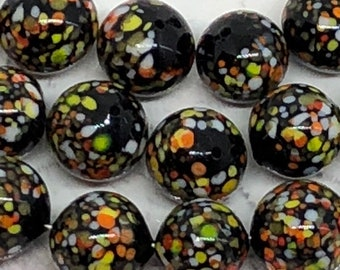 4 Vintage Black Speckled Venetian Glass Beads , Speckled Murano Glass Beads , 9mm