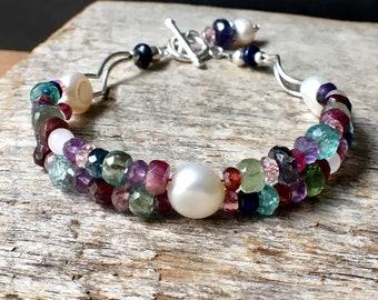 Pearl Gemstone Bracelet, Freshwater Pearls Gemstone Sterling Silver Bracelet