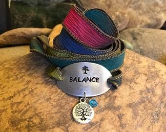 Balance silk wrap bracelet, tree of life jewelry, yoga wrap bracelet, gifts for men or women, bohemianearthdesigns