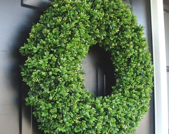 Realistic Artificial Boxwood Wreath- (14 to 30 inch Sizes available online)- Window Wreath- Holiday Window Decoration
