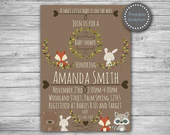 Woodland baby shower invitation, woodland baby shower invite, forest baby shower, baby shower invitation, baby boy invitation, woodland