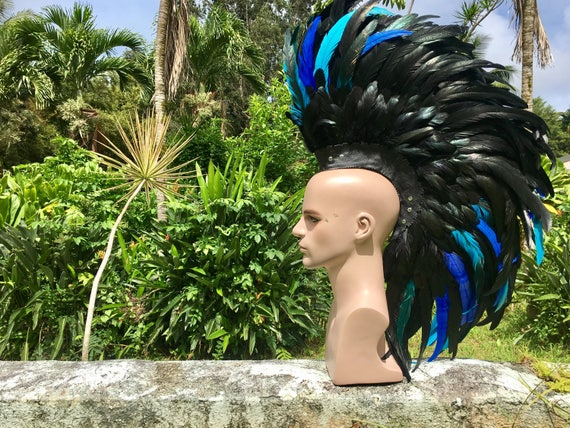 """Customizable Feather Mohawk / Headdress - """"Midnight Blue"""""""