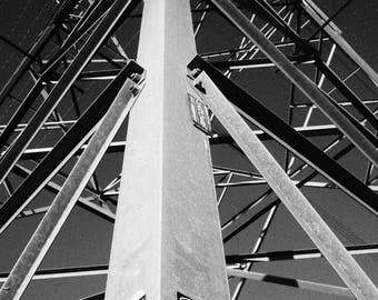 Powerline Transmission Tower.  Electric, Power Line, Steel black and white photography