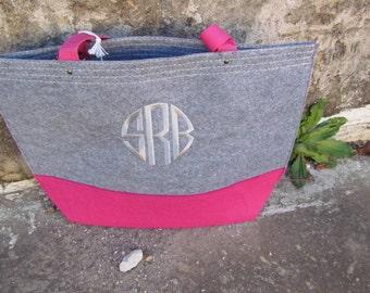 Monogrammed Felt Tote Bag