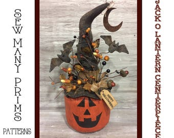 Primitive Halloween PATTERN JOL Witch Bat Moon - Jack O Lantern Centerpiece - Sew Many Prims - instant download