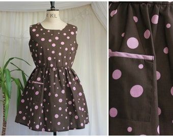 Handmade Brown and Pink Spotty Polka Dot Dress, Pin Up Summer Smock Dress, 1950's Inspired Custom Made, UK 12-14 / US 8-10 / EUR 40-42