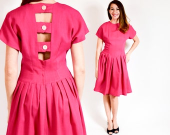80s Pink Dress | Open Back Pleated Dress | Medium
