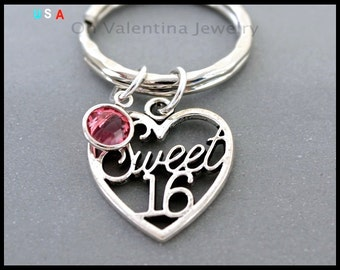 SWEET 16 / SWAROVSKI Key Ring - Birthday Teenager Heart Charm Key Chain - Personalized Birthstone Key Chain - Instant Ship - USA - 024
