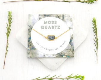 Natural Healing Gemstone Necklace, Moss Quartz Necklace, Unique Stone Pendant, Healing Gift for Her, Inspirational Necklace, Green Quartz