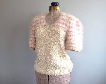vintage 40s sweater * 1940s fashion sweater * angora sweater * puff sleeve sweater * texture knit pullover * m / l