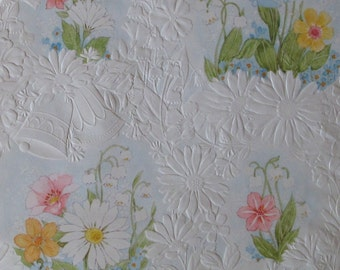 Vintage Hallmark WEDDING Gift Wrap Wrapping Paper - Raised Pattern of FLOWERS and BELLS - 1970s