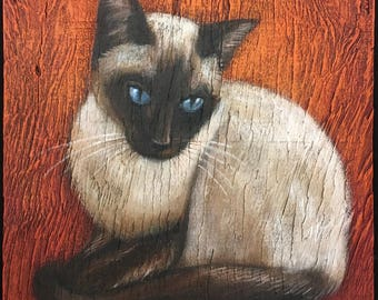 Siamese Cat Painting on Weathered Plywood