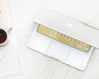 Brushed Gold Chrome Keyboard Key . Keycal . Macbook Pro 13  . Macbook Air  . Macbook Decal . Microsoft Surface - Platinum Edition