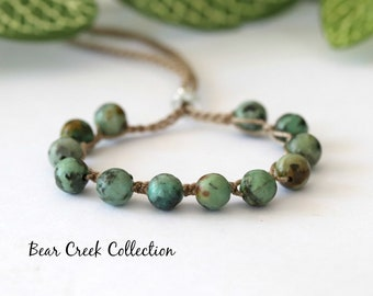 African Turquoise, Bead Crochet Bracelet, Stacking, Adjustable, Layering, Boho Style Jewelry, Gemstone, Bohemian, Bead and Cord Jewelry