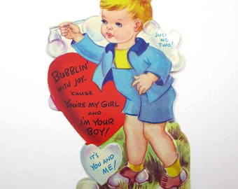 Vintage Embossed Children's Valentine Greeting Card with Little Blonde Boy Blowing Bubbles