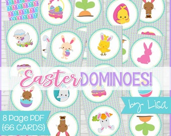 Printable Easter Game, DOMINOES, Easter Basket Stuffers, Gift, Party Game, Egg Hunt Activity + BONUS Match Game - Instant Download by Lisa