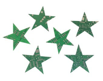 Set of 6 - Star Magnets Upcycled Circuit Board Magnet Pack