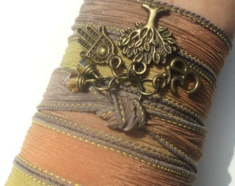 Tree of Life Hamsa Silk Wrap Bracelet Om Yoga Jewelry Namaste Autumn Fall Orange Brown Yellow Necklace Earthy Unique Gift Under 50 Item S42