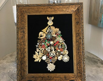 Framed Vintage Jewelry Christmas Tree Art