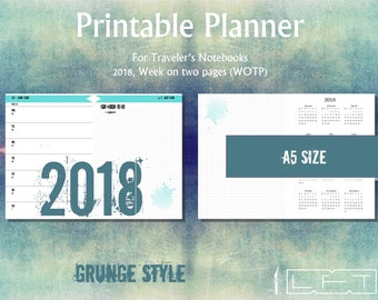 A5 2018 WOTP, Grunge Style, Week on two pages printable diary insert for Traveler's Notebook