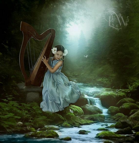 Little girl fantasy art print, little girl playing harp, fantasy forest art print, fantasy wall art