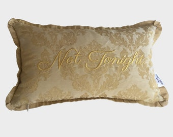 embroidery pillow tonight not tonight boudoir bedroom brocade taffeta gold romantic something blue bridal shower