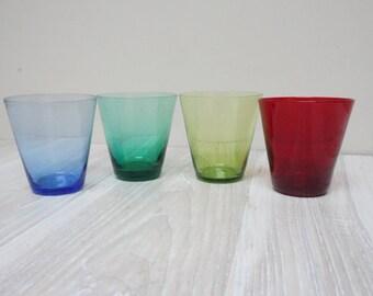 4 Multi color vintage shot drinking glass set of Table Alcohol Vintage Retro vodka liquor multicolor red green blue mint olive cobalt