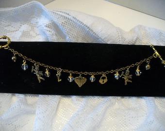 Charm Bracelet, Re-cycled Bracelet, Crystal Bead Bracelet, Antique Gold, Heart Bracelet, Love Bracelet, Locket Bracelet, MarjorieMae