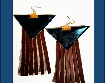 Hand made leather fringe earrings