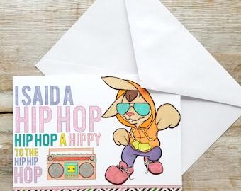 Bunny Easter Card - Funny Bunny Card - Hip Hop Easter - Greeting Cards Easter - Funny Easter Card - Easter Greeting Card - Bunny Card