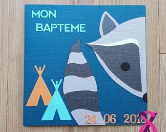 Faire-part de naissance ou de baptême thème raton laveur et tipi