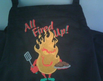Bar-B-Que apron for the griller that is all fired up